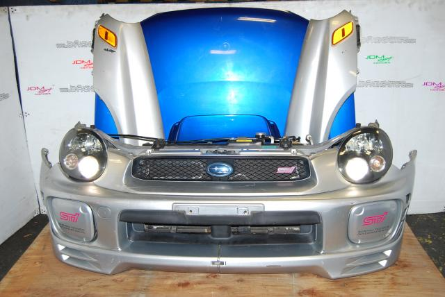 Used Subaru WRX STi Version 7 Front End Conversion, Front bumper with lip, radiator, HID Bugeye headlights, Ballasts, v8 Hood Scoop & STi Grill