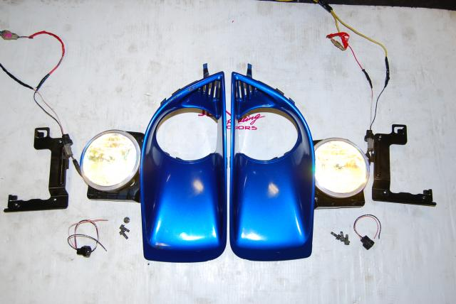Used JDM Subaru Version 8 Yellow Shade Foglights, WRX 2004-2005 Fogs with Foglight Bezels & Mounting Brackets