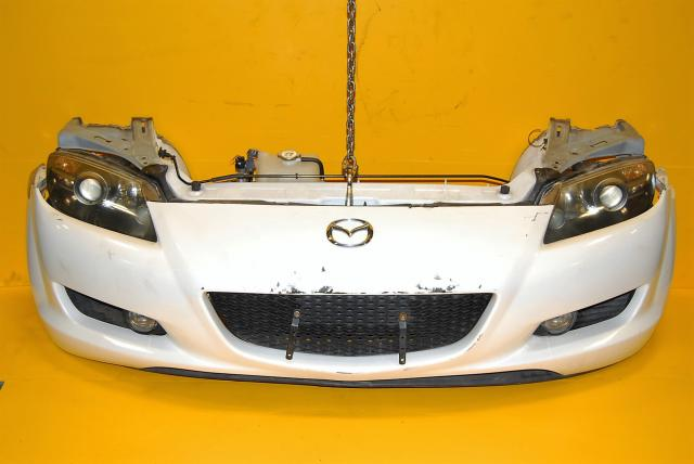 Used Mazda RX-8 Front End Conversion, Fenders, Hood, Rear Bumper, Radiator, Rad Support & Headlights Complete Nose Cut Package