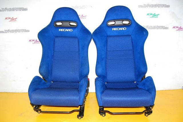 JDM RSX Integra DC5 Recarco S6M Blue Seats OEM with Rail Assembly - Rare