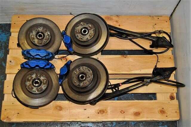 WRX 2002-2005 4/2 Pot 5x100 Brakes For sale, JDM Complete Brakes, Calipers, Rotors & Hubs Package