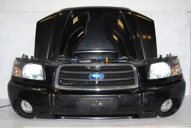 Used JDM Subaru Forester complete front end conversion SG Fenders, HID Headlights, Bumper, Hood & Hood Scoop