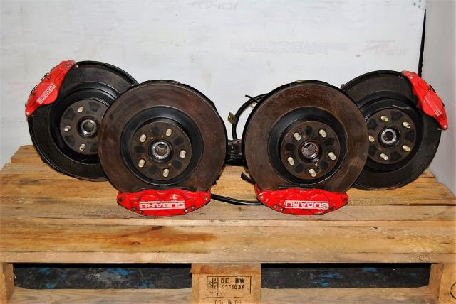 4/2 Pot 2002-2005 WRX Brake Set For sale, JDM 5x100 Complete Brakes, Calipers, Rotors & Hubs Package