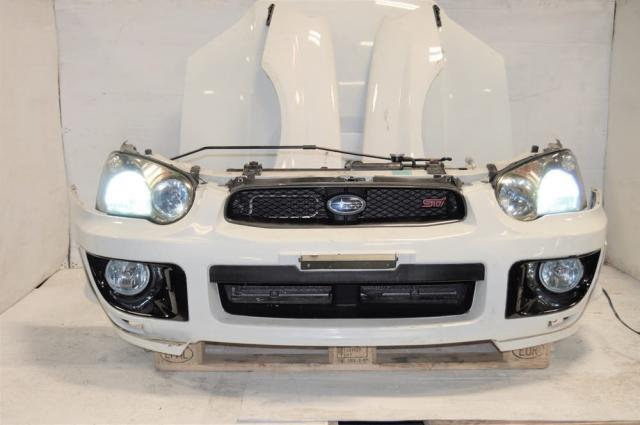 Subaru Impreza WRX STi v8 Front End Nose Cut, HID Headlights, Fenders, Hood Scoop & Foglights with Bezels For Sale