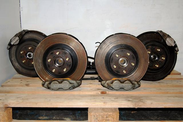 WRX Impreza Complete 5x100 4/2 Pot Brakes, Rotors, Hubs Package For Sale