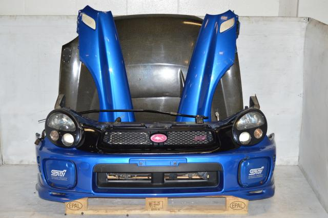 JDM Subaru Version 7 Front End Conversion with Carbonfiber Kansai Hood, Fenders with Side Marks, Headlights with Ballasts and Foglight Covers For Sale