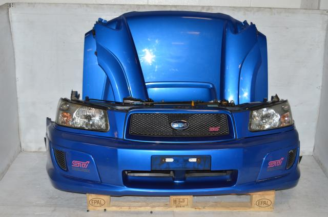 JDM Forester STi Front End For Sale, 2003-2005 Complete Nose Cut Conversion, SG Fenders, HID Headlights, Bumper, Hood & Hood Scoop