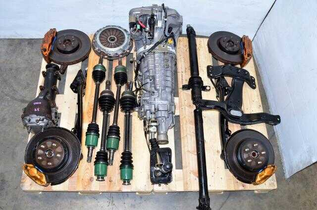 JDM Version 7 Non DCCD TY856WB1CA 6 Speed Transmission Swap with Brembos, Axles, 5x100 Hubs, Driveshaft & R180 STi Differential