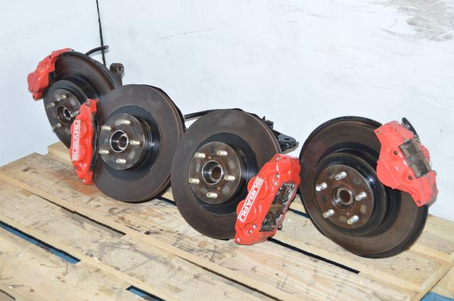 Used Subaru WRX Impreza Complete 4/2 Pot Red Brake Assembly For Sale
