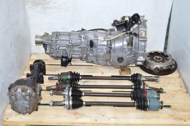 JDM Subaru 5 Speed Manual Transmission Swap For Sale with 4.444 Rear Differential, Flywheel, Pressure Plate and 4 Corner Axles
