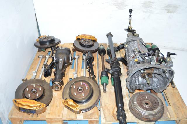 Subaru WRX STi 2002-2007 Version 8 DCCD TY856WB6KA 6-Speed Compelte Transmission Swap For Sale with Axles, 5x114 Hubs, Rear R180 Diff & Subframe