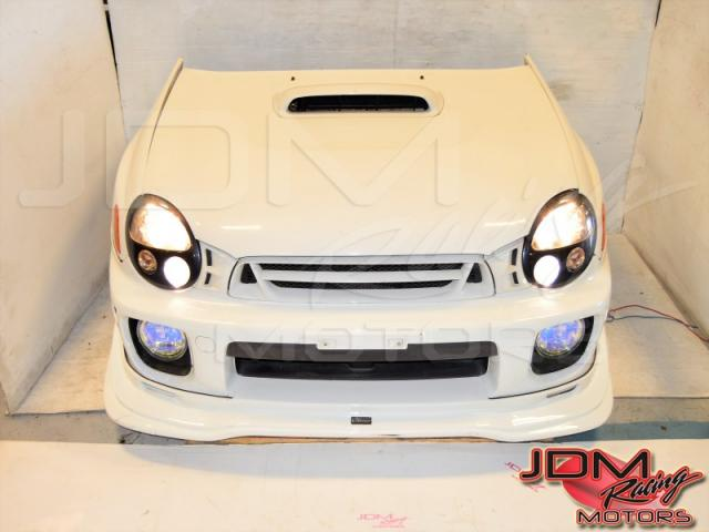 JDM Subaru v7 Bugeye White Front-End Nose Cut Conversion For Sale with Grille, Front Bumper, Varis Lip, Healights & JDM Fogs
