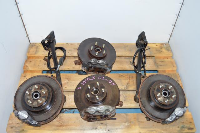 WRX Impreza 5x100 compete 4/2 Pot Brakes, Rotors, Hubs Package For Sale