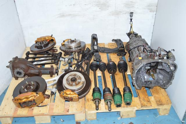 JDM V7 WRX STi 6 Speed TY856WB1AA Transmission with R180 Diff, Axles, Driveshaft, Control Arms & Brembos 6MT Non-DCCD  5x100 hubs