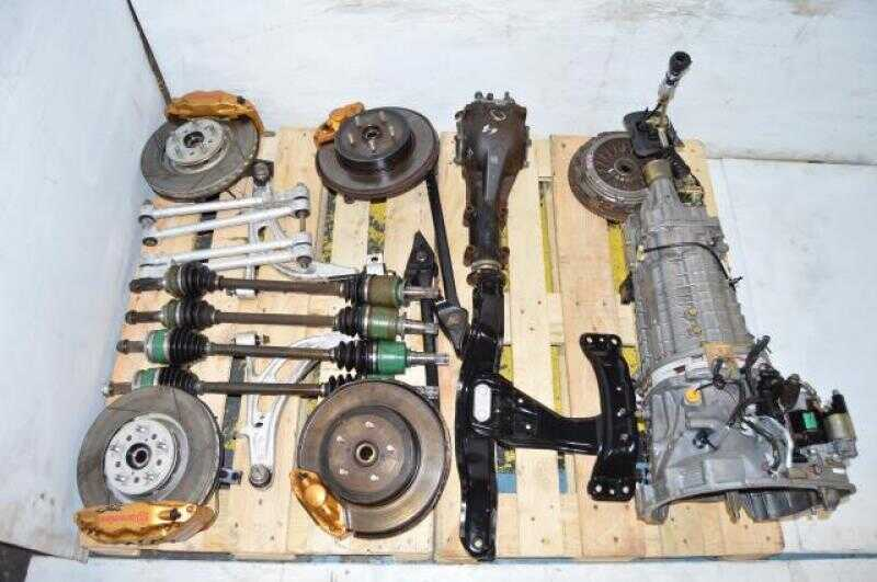 Used Subaru STi 2002-2007 TY856WB6KA 6 Speel Transmission Swap with Brembo Calipers, 5x114.3 Hubs, Axles & Matching Rear Differential For Sale