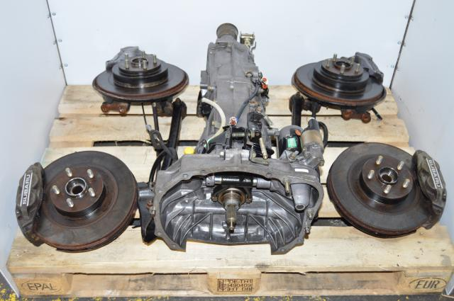 JDM 5 Speed Subaru WRX 2002-2005 Transmission with 4.444 Rear Differential, Axles & 4/2 Pot Assembly For Sale