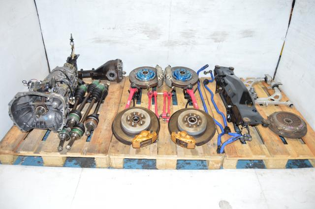 JDM 6MT STi TY856WB4KA  DCCD Transmission Package with 4 Corner Axles, ENDLESS Front Calipers, Brembo Rear Calipers,  5x100 Hubs, PINK Lateral links, CUSCO Sway Bars, etc