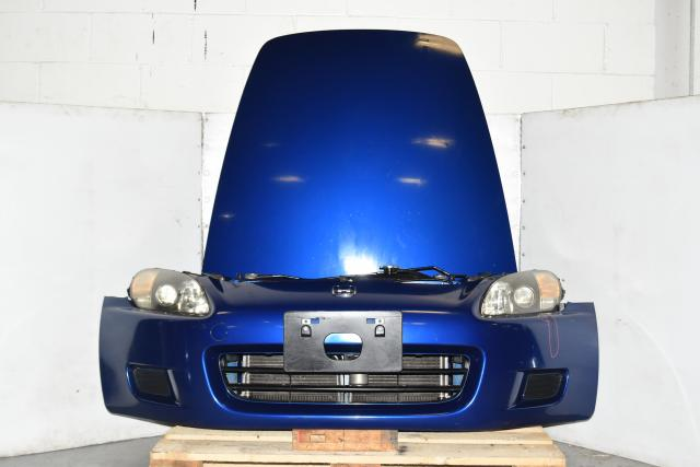 Used JDM Honda S2000 AP1 Blue OEM Front Autobody Nose Cut with Hood, Fenders, Bumper & Headlights for Sale