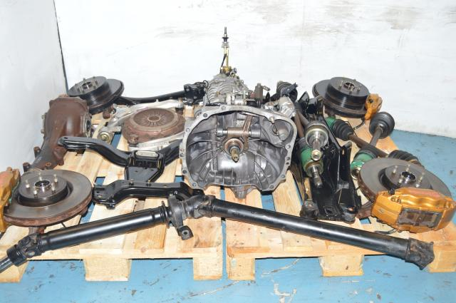 Used Subaru TY856WB1CA 6-Speed Transmission Package with Lateral Links, 4 Corner Hubs, Axles & Driveshaft For Sale 5x100
