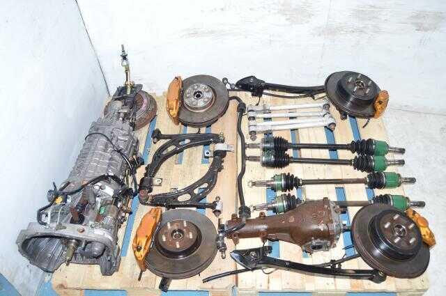 Subaru JDM STi Version 8 DCCD TY856WB6KA 6 Speed Transmission Swap For Sale with Driveshaft, Axles, Hubs, Brembos & Control Arms