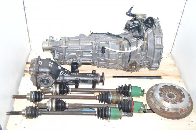 JDM Subaru 5 Speed Transmission Swap with 4.444 LSD Rear Matching Differential, 4 Corner Axles, Flywheel & Pressure Plate