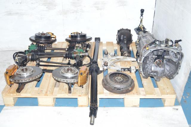 used JDM TY856WB3KA Version 8 DCCD 5x100 6-Speed Transmission Package with Axles, R180 Rear Differential, Rear Crossmember,  Front Aluminum Control Arms For Sale