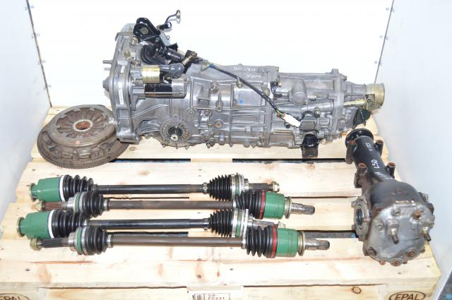 JDM 5 Speed WRX 02-05 GDB GDA Manual Transmission with Axles, 4.444 LSD Rear Differential, Flywheel & Pressure Plate
