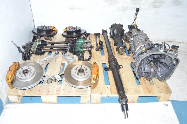 JDM Subaru TY856WB4KA DCCD 6-Speed Transmission Swap for Sale with 4 Corner Brembo Calipers, Axles, Discs, 5x100 Hubs & Aluminum Control Arms