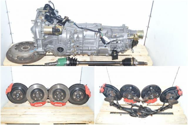 Subaru WRX 2002-2005 JDM 5 Speed Manual Transmission Swap For Sale with 4 Corner Axles, Flywheel, Pressure Plate, 4 Pot 2 Pot Brake Kit Assembly & Rear 4.444 LSD Differential