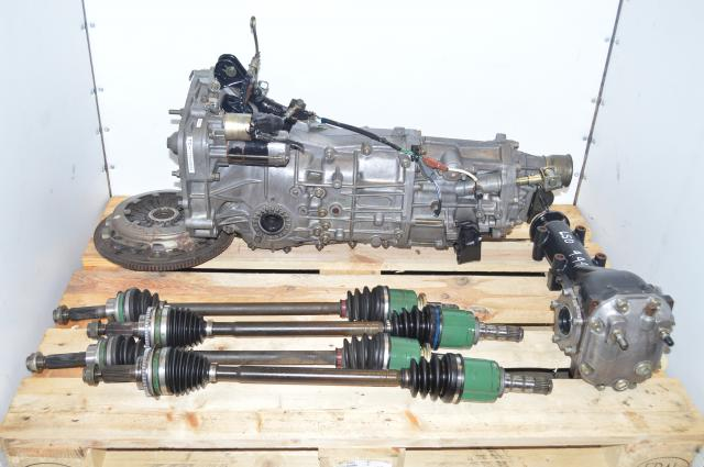 Used JDM WRX 2002-2005 5 Speed Manual Subaru Transmission Swap with 4 Corner Axles, Flywheel, Pressure Plate & 4.444 Rear LSD Differential