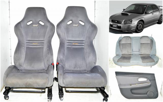 JDM STi Limited S203 Recaro Carbon Fiber Backing Bucket Seats with Rear Bench & 4 Corner Door Cards For Sale