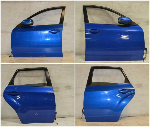 used jdm subaru GR 2012 doors wrx impreza STI SEDAN 2008-2012 wrb world rally blue front & rear , doors cards, power folding mirrors , windows , sedan