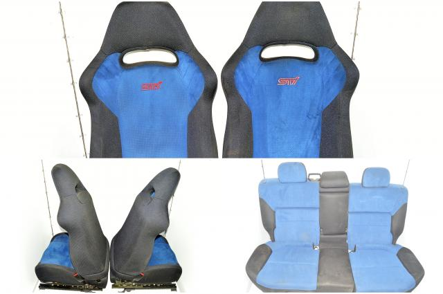 JDM Subaru Version 7 Wagon STi Front Passenger & Driver Seat, Rear Bench Seat with Arm Rest Assembly For Sale