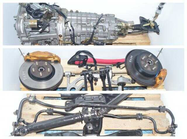 TY856WB3KA Version 8 DCCD 6-Speed JDM Subaru STi 2002-2007 Transmission Package with 4 Corner Axles, 5x114.3 Hubs, Control Arms, Pink Rear Arms, Driveshaft, R180 Rear Diff For Sale