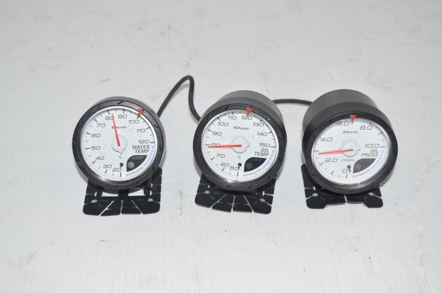 JDM Defi Stepmaster 60mm Gauge Set (oil temp, water temp, oil pressure)