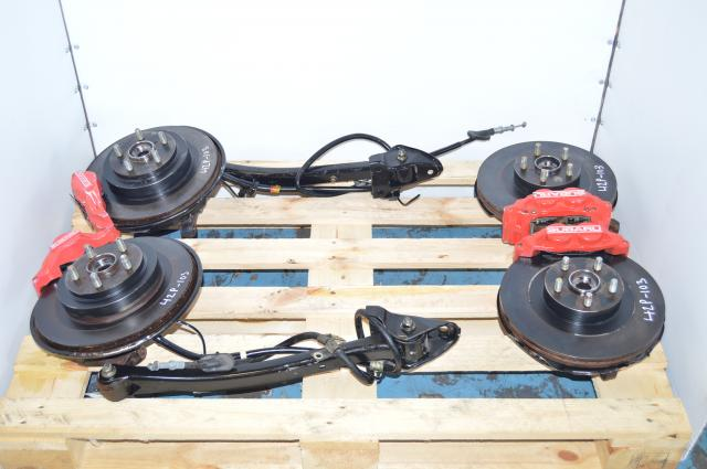 JDM Subaru WRX 5x100 Red 4 Pot & 2 Pot Brake Caliper, Rotors, Hubs & Trailing Arms For Sale