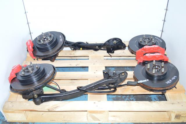 JDM Subaru WRX 5x100 Aluminum 4 Pot & 2 Pot Brake Caliper, Rotors, Hubs & Trailing Arms For Sale