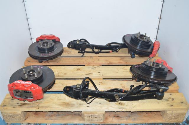 Red JDM 4 Pot 2 Pot Front & Rear Complete Brake Assembly For Sale with 5x100 Hubs
