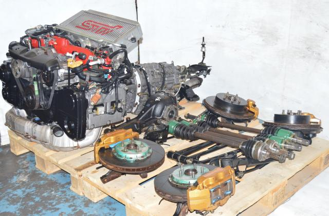 Complete V8 EJ207 STI Drive Train with 6 speed DCCD Transmission kit including brembos, axles, hubs, rear subframe, Twin Scroll VF37 Turbo, sways bars, lateral links, control arms, rear R180 differential package 5x100