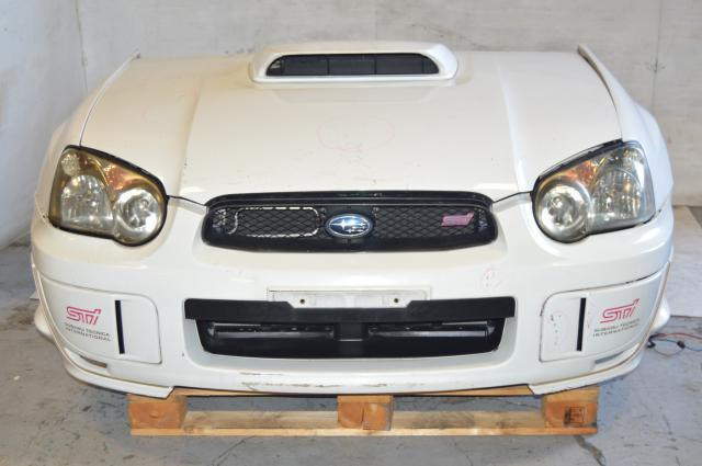 JDM STi 04-05 Version 8 Blob Eye Sedan White Front End Conversion Package,  Nose Cut With Fenders, HID Headlights, Grill, Hood, Radiator, Rad Support