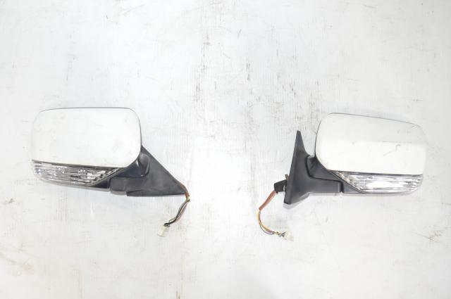 JDM Forester STi SG9 Power Folding Mirrors w/Turn Signals in White with switch