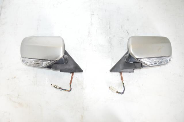 JDM Forester STi SG9 Power Folding Mirrors w/Turn Signals in Silver with switch