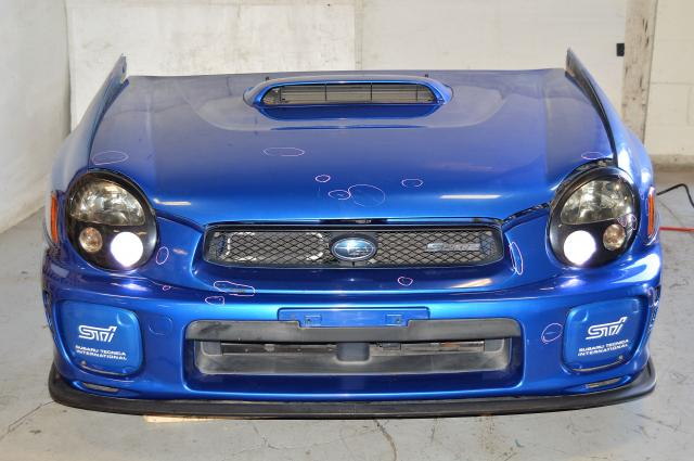 JDM Subaru Impreza STi S202 V7 2002 03 Bugeye Front End, Nose Cut (rad support, radiator, one piece grill, fog covers, headlights, hood, fenders, , lip)
