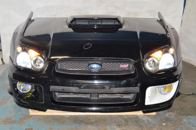 JDM STi 2004-2005 Sedan Version 8 Front End Conversion with Hood Scoop, HID Headlights, JDM Foglights & STi Grille For Sale