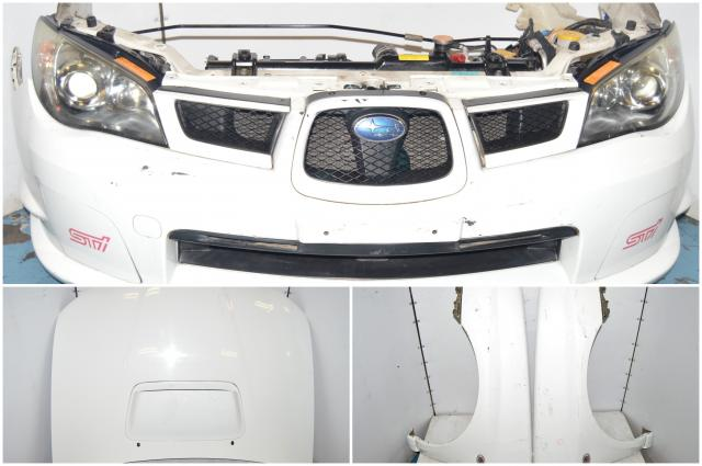 JDM STi 2006-2007 Version 9 Hawkeye Front End Conversion with Foglight Covers, Radiator, Headlights & Fenders for Sale