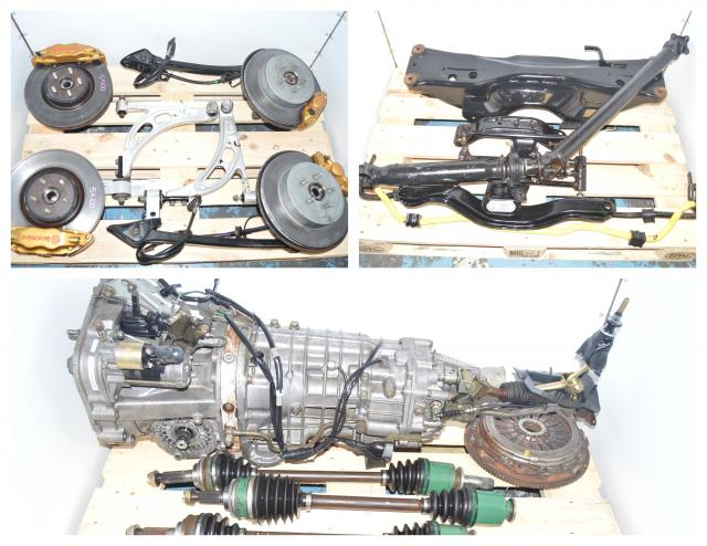 JDM Subaru STi 2002-2007 Version 8 DCCD TY856WB3KA 6-Speed Transmission Package For Sale with Brembo Calipers, Rotors, 5x100 Hubs & Rear 3.9 R180 Differential