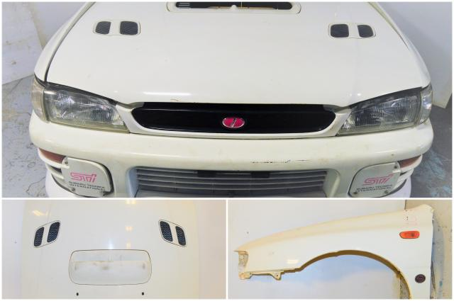 GC8 Version 4 JDM Subaru Impreza STi 1996 White Nose Cut with, Hood, Fenders, Headlights, Foglight Covers Front Bumper Cover & Rad Support For Sale