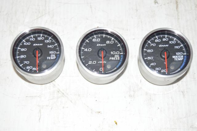 Defi Stepmaster 60mm Advance CR Water Temp. Oil Temp and Oil Pressure Gauges w/Peak and Warning