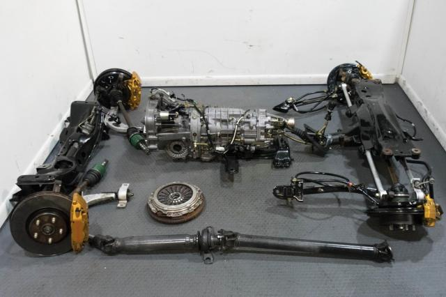 JDM Subaru TY856WB7KA Version 9 02-07 6-Speed Transmission Swap with Brembos, R180 3.54 Diff, Subframes, 4 Corner Axles & Clutch Assembly for Sale.
