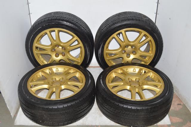 Subaru JDM Version 7 STI Gold Wheels 5x100 with Nezen Tires